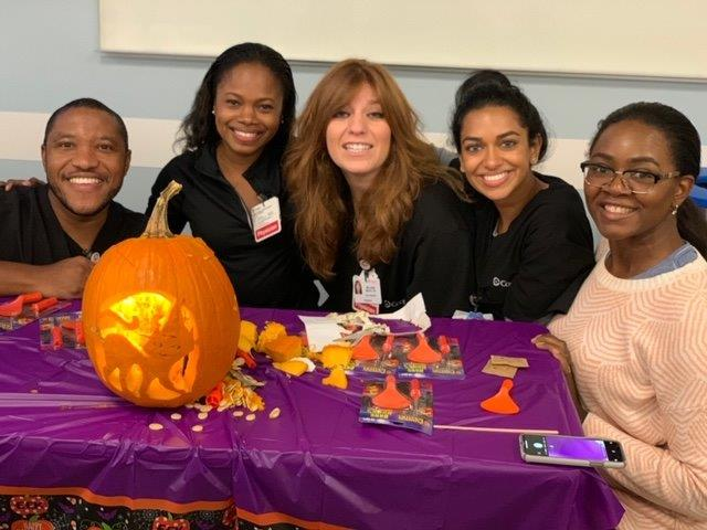 2019 Psychiatry Residents with decorated Halloween pumpkin